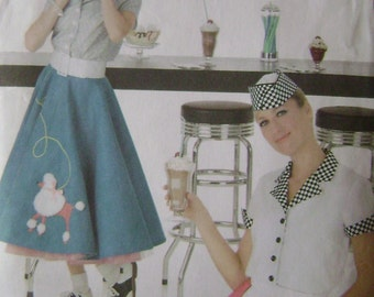 OUT of PRINT Simplicity Pattern 3847 Misses' Puddle Skirt and Soda Jerk Costume