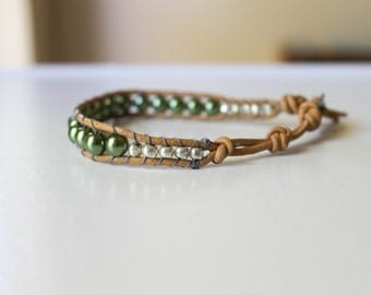 Green Pearls and Silver Beaded Leather Single Wrap Bracelet