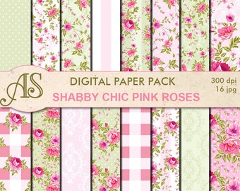 Digital Shabby Chic Pink Roses Paper Pack, 16 printable Digital Scrapbooking papers, retro roses Digital Collage, Instant Download, set 223
