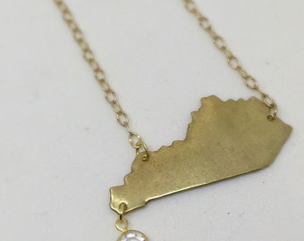 Gold Kentucky Necklace with Crystal Faceted Dangle FREE SHIPPING