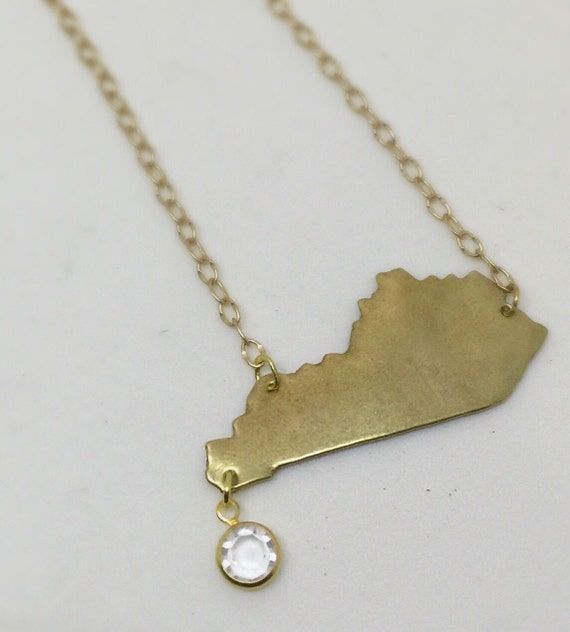 gold kentucky necklace with faceted dangle free