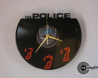The Police clock, Wall clock, The Police, The Police art, Sting, Sting art, Rock art, vinyl record clock, vinyl clock, mancave decor
