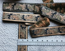 Vintage Jacquard Ribbon, Trim with Embroidered Florals. Floral Ribbons, Jacquard Ribbon,Jacquard Trims. Sold By the Yard.
