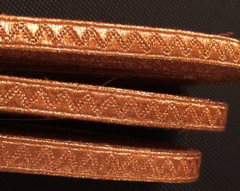 10 Yards of Heavy Vintage Metallic Ribbon. Made in W.Germany.Rose Gold Metallic,Rose Gold Trims, Metallic. 1/2 wide or  3/8 wide.