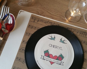 Vinyl Record 45s Place Settings