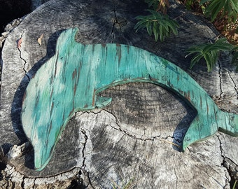 Dolphin art distressed wood Dolphin hanging