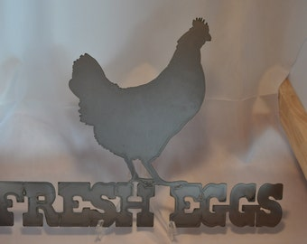 CH02 Metal Chicken Coop Sign Fresh Eggs