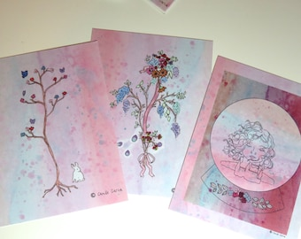 Set of 15 Postcards: Flowers, Trees, and Snow Globes