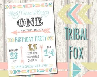 Tribal Fox Birthday Invitation -  Fully customizable!