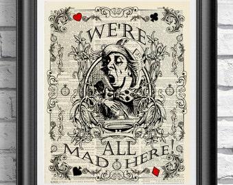 Alice in Wonderland Print, Mad hatter Print, Vintage book page art, Alice poster art, Mixed-media print, Wedding print, Home decor