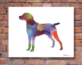 Weimaraner Art Print - Abstract Watercolor Painting - Wall Decor