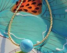Swarovski Turquoise Pearl Pendant Gold Seed Bead Necklace, Gold Necklace, Turquoise Necklace
