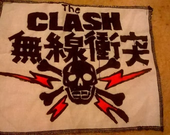 the clash Japanese logo hand painted patch punk rock patches