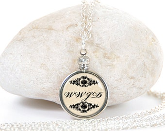 WWJD. What Would Jesus Do. Statement Necklace. Scripture Jewelry. Bible Verse Jewelry. Pendant Necklace.