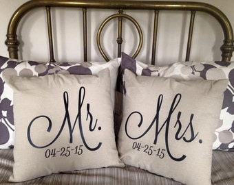 Custom Mr and Mrs Pillows with Wedding Date
