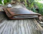 Distressed Leather, Minimalist Wallet, Brown Leather Card Wallet, Slim Leather Wallet, Handcrafted, Leather Card Holder, JL Single Pocket
