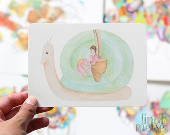 Fantasy Snail Postcard with envelope