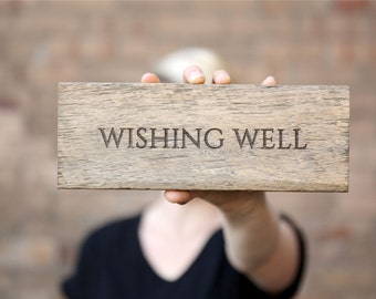 Wishing Well Sign, Wedding Sign, Rustic Reclaimed Wood Sign