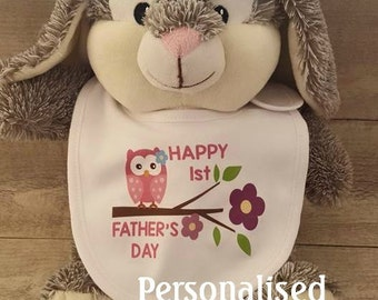 Happy 1st Father's Day Personalised Bib - Owl design