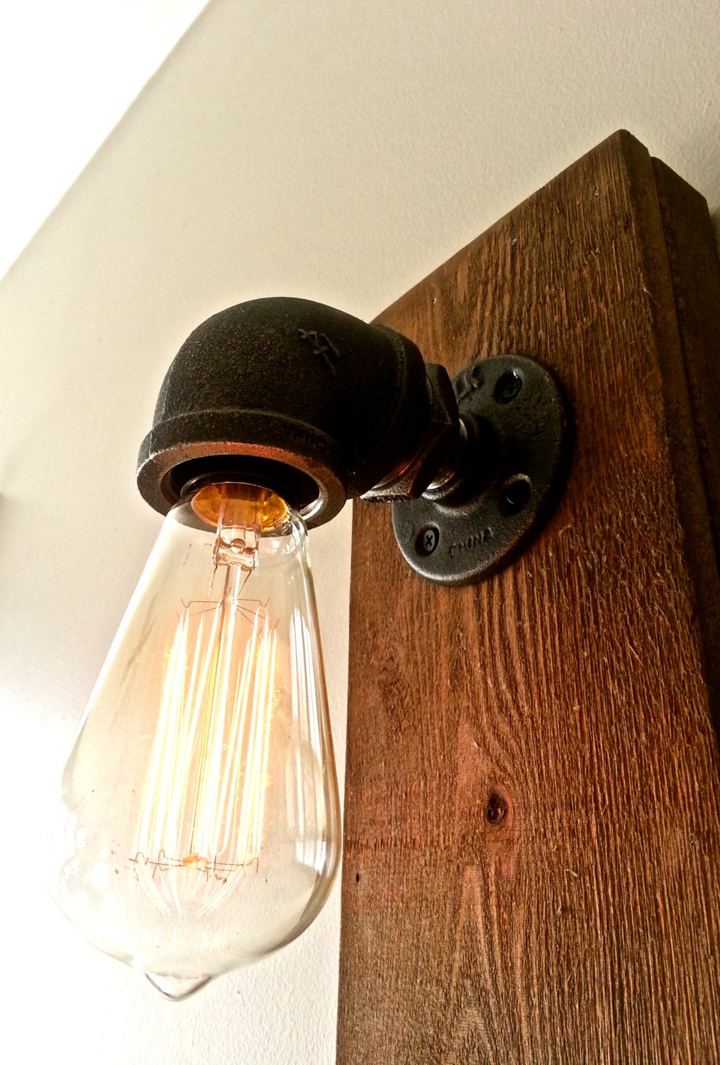 Black Pipe Wall Sconces : steel pipe wall sconce edison bulb fixture black by ChicagoLights