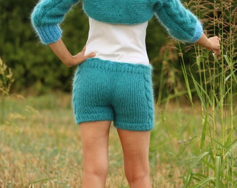 New Hand Knitted Mohair 70 % Pants + Shrug/Bolero in Blue,Azure,Handmade