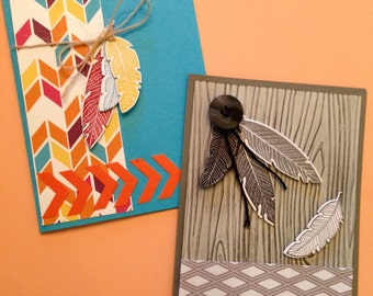 Set of 8 Feather Cards- Free Shipping!