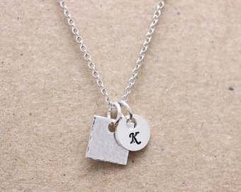 925 sterling silver hammered square & circle name tag necklace,  your special necklace, bridemaid necklace, friendship necklace (WPN_00014)