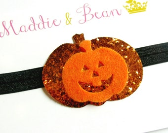 Baby Girl Halloween Headband {Glitter Pumpkin Headband} Newborn Babies Toddlers Girls {Orange and Black Halloween Headband} Glitter Pumpkin