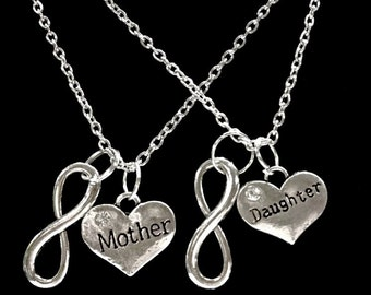 2 Necklaces, Mother Daughter Necklace, Heart Infinity Set