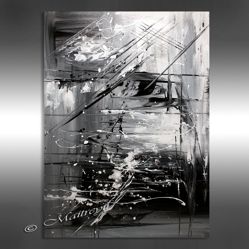 Oil painting black white abstract art 40 artwork on Black and white canvas art