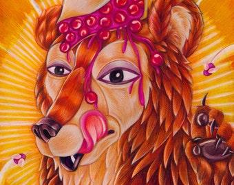 "Pop Surrealism Illustration of a Bear with a Pie on it's Head ""Bear Pie"" Fine ARt Print 8x10"