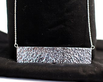 Hammered Sterling Silver Bar Necklace