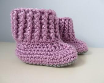 Handmade Crochet Booties Dusty Pink Slip On 6-12 months 4 inch sole