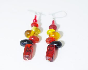 Fire Beaded Earrings