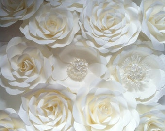 Set of Paper Flower Backdrop in White off Ivory Pearl color