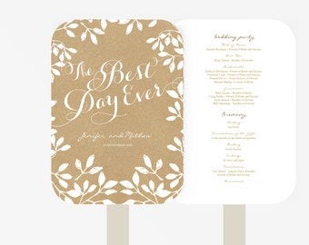 Wedding Fan Program Template | Editable Word template | Instant Download  | DIY You print | Rustic leaf | Kraft