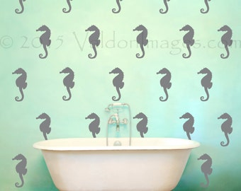 Seahorse pattern wall decal, nautical wall decal, nursery decals, dorm room wall decor, living room decal, bedroom decal, seahorse sticker