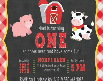 DIGITAL DOWNLOAD - Barn Yard Birthday Invitation