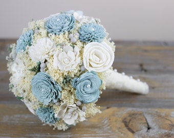 Bridal Bouquet,Blue Bridal Bouquet,Winter Bridal Bouquet,Alternative Bridal Bouquet,Keepsake Bridal Bouquet,Sola Flower Bouquet
