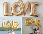 "Love 40"" Gold Foil Balloon - Huge Balloons! Great Decor for Engagement, Bridal Showers, Weddings..."