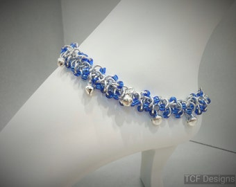 Shaggy Loops Chainmaille BDSM Slave Bells Anklet, Belly Dance Bells Anklet, Blue