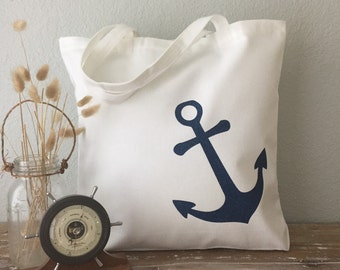Blue Nautical Anchor Tote Bag: purse, beach bag, wedding tote or bridesmaid tote