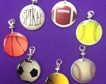 Sports Ball Charms (volleyball, soccer, tennis, football, fast pitch softball, baseball, basketball)