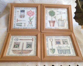 Framed Gardening Prints, Set of 4, Light Wood Frames, Gardening Tool Prints