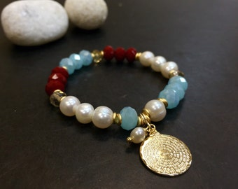 Swaroski crystal  charm bracelet goldfilled material 18k