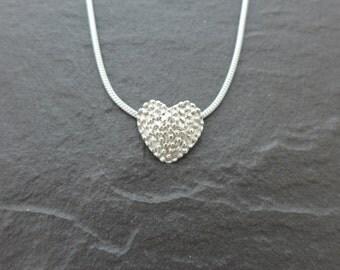 Small Stippled Heart Pendant