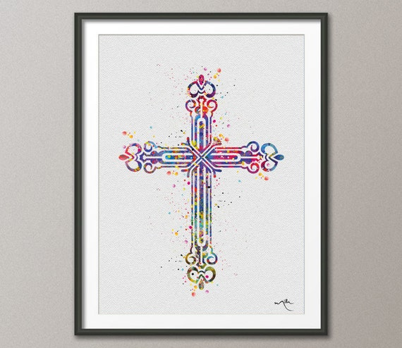 Baptism Ornament Cross Ornament Boy Baptism Ornament: Cross Religious Ornament Symbol Watercolor By CocoMilla On