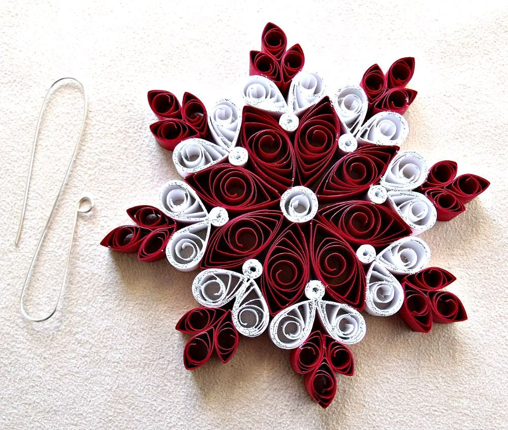 Homemade Paper Christmas Ornaments: Handmade Paper Quilled Christmas Snowflake Ornament