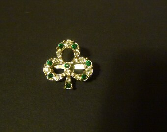 Vintage Silver Tone 3 Leaf Clover Brooch/Pin with Clear and Emerald Green Rhinestones