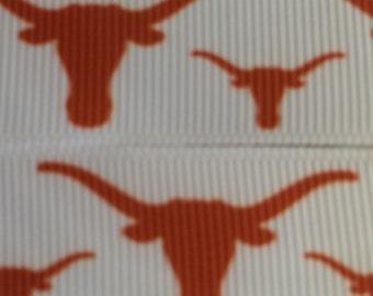 "University of Texas Longhorns 7/8"" Grosgrain Ribbon - 5 Yards"